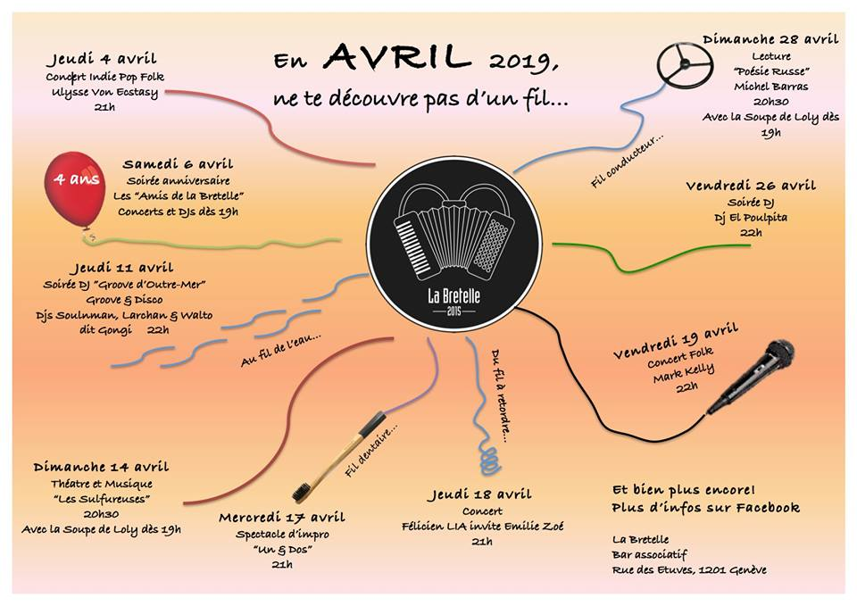 Affiche avril 2019 - La Bretelle, bar associatif, Genève
