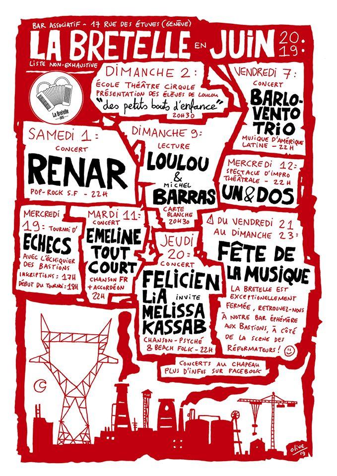 Programme en juin 2019 au bar La Bretelle, Genève